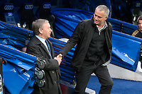 14.04.2012 SPAIN -  La Liga matchday 34th  match played between Real Madrid CF vs Real Sporting de Gijon (3-1) at Santiago Bernabeu stadium. The picture show Javier Clemente coach of Real Sporting de Gijon and Jose Mourinho  coach of Real Madrid