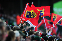 Munster Rugby fans in the crowd waves flags in support. European Rugby Champions Cup match, between Leicester Tigers and Munster Rugby on December 17, 2016 at Welford Road in Leicester, England. Photo by: Patrick Khachfe / JMP