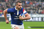 February 1st 2019, St Denis, Paris, France: 6 Nations rugby tournament, France versus Wales;  Louis Picamoles (FRANCE) runs in open field on his way to scoring his try