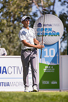 Jack Singh Brar (ENG) on the 10th tee during the third round of the Mutuactivos Open de Espana, Club de Campo Villa de Madrid, Madrid, Madrid, Spain. 05/10/2019.<br /> Picture Hugo Alcalde / Golffile.ie<br /> <br /> All photo usage must carry mandatory copyright credit (© Golffile | Hugo Alcalde)
