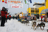 Saturday March 6 , 2010  Jamaican musher Newton Marshall leaves the start line of the ceremonial start of the 2010 Iditarod in Anchorage , Alaska