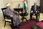 Palestinian Prime Minister, Rami Hamdallah, meets with Mufti of Jerusalem and Palestine, Sheikh Mohammed Hussein,in the West Bank city of Ramallah, on August 3, 2017. Photo by Prime Minister Office