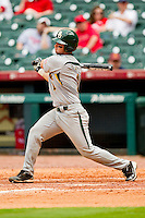 Joey Hainsfurther #1 of the Baylor Bears follows through on his swing against the Houston Cougars at Minute Maid Park on March 4, 2011 in Houston, Texas.  Photo by Brian Westerholt / Four Seam Images