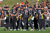 Ben Sears (2nd left) celebrates a wicket during the Burger King Super Smash T20 cricket match between the Wellington Firebirds and Canterbury Kings at Basin Reserve in Wellington, New Zealand on Sunday, 6 January 2019. Photo: Dave Lintott / lintottphoto.co.nz