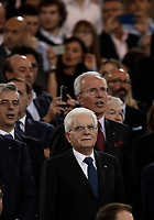 Calcio, Tim Cup: finale Juventus vs Lazio. Roma, stadio Olimpico, 17 maggio 2017.<br /> Italian President Sergio Mattarella, bottom, waits for the start of the Italian Cup football final match between Juventus and Lazio at Rome's Olympic stadium, 17 May 2017.<br /> UPDATE IMAGES PRESS/Isabella Bonotto