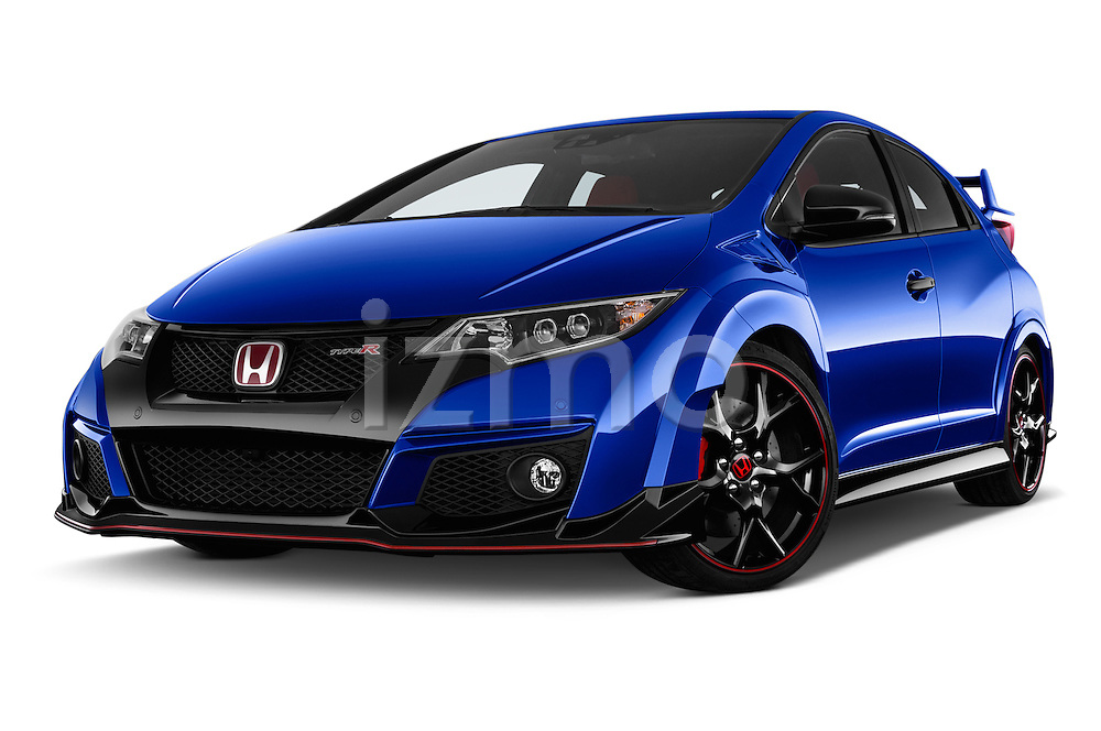 Stock pictures of low aggressive front three quarter view of 2015 Honda Civic Type-R 5 Door Hatchback Low Aggressive
