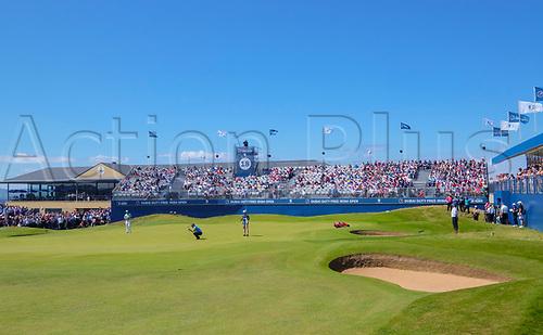 July 8th 2017, Portstewart Golf Club, Portstewart, Northern Ireland; Dubai Duty Free Irish Open Golf Championship, Day 3; Padraig Harrington (IRL) lines up his putt on the 18th during the third round of the Dubai Duty Free Irish Open