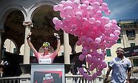 Michael Matthews (AUS/Orica-GreenEDGE) at sign-on in the pink jersey/maglia rosa<br /> <br /> 2015 Giro<br /> stage 3: Rapallo - Sestri Levante (136km)