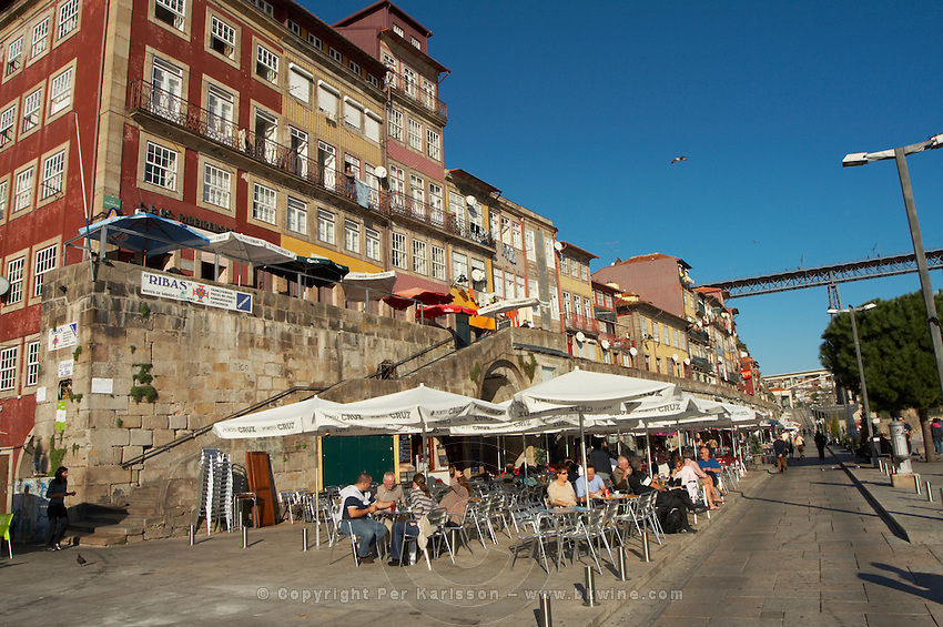 apartment buildings restaurant terrace cais da ribeira porto portugal