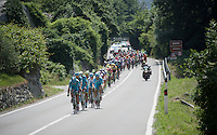 peloton underway to the 3 climbs of the day with Team Astana leading the way for maglia bianca Fabio Aru (ITA/Astana)<br /> <br /> Giro d'Italia 2015<br /> stage 19: Gravellona Toce - Cervinia (236km)