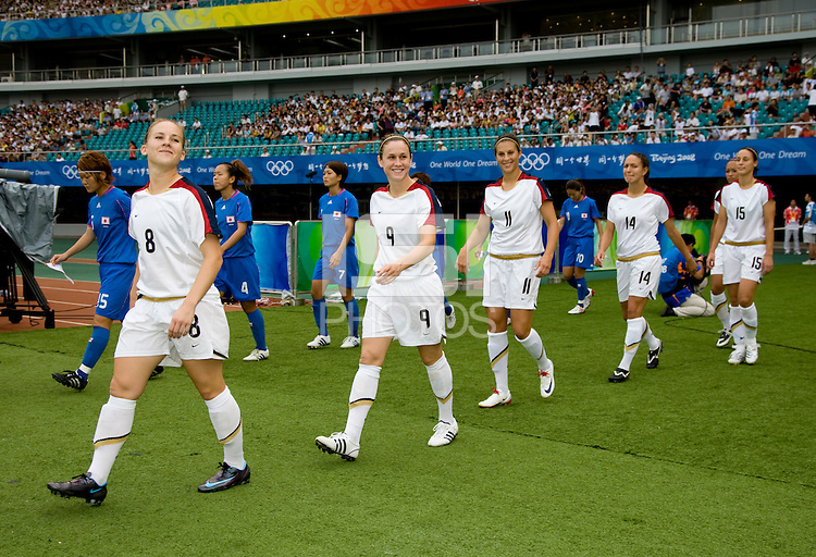 Amy Rodriguez, Heather O'Reilly, Carli Lloyd, Stephanie Cox, Kate Markgraf. The US defeated Japan, 1-0, during the 2008 Beijing Olympics in Qinhuangdao, China.