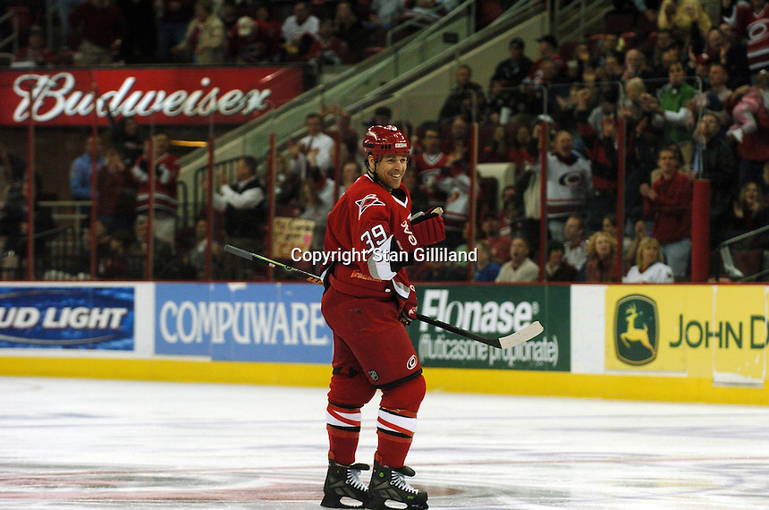 Carolina Hurricanes' Doug Weight celebrates the first of two goals he scored against the New York Rangers Tuesday, March 14, 2006 at the RBC Center in Raleigh, NC. Carolina won 5-3.