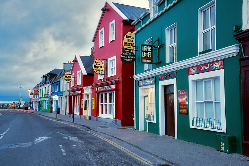 Colorful store fronts in Dingle, County Kerry, Ireland