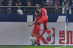 05.10.2019, VELTINS-Arena, Gelsenkirchen, GER, DFL, 1. BL, FC Schalke 04 vs 1. FC Koeln, DFL regulations prohibit any use of photographs as image sequences and/or quasi-video<br /> <br /> im Bild Jonas Hector (#14, 1.FC Köln / Koeln) jubelt nach seinem Tor zum 1:1 mit Kingsley Schindler (#11, 1.FC Köln / Koeln) <br /> <br /> Foto © nordphoto/Mauelshagen