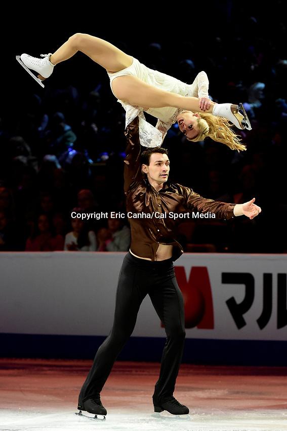 Sunday, April 3, 2016: Alexa Scimeca and Chris Knierim (USA) perform at the International Skating Union World Champions Exhibition, held at TD Garden, in Boston, Massachusetts.Eric Canha/CSM
