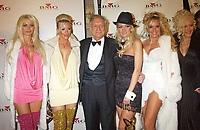"27 September 2017 - Hugh Marston Hefner aka ""Hef"" was an American magazine publisher, editor, businessman, and international playboy best known as the editor-in-chief and publisher of Playboy magazine, which he founded in 1953. Hefner was the founder and chief creative officer of Playboy Enterprises, the publishing group that operates the magazine. Hefner was also a political activist and philanthropist. File Photo: Feb. 8, 2004; Hollywood, CA, USA; Playboy HUGH HEFNER during the BMG 46th Annual Grammy Awards Post-Grammy Gala Celebration held at The Avalon. Photo Credit: Laura Farr/AdMedia"