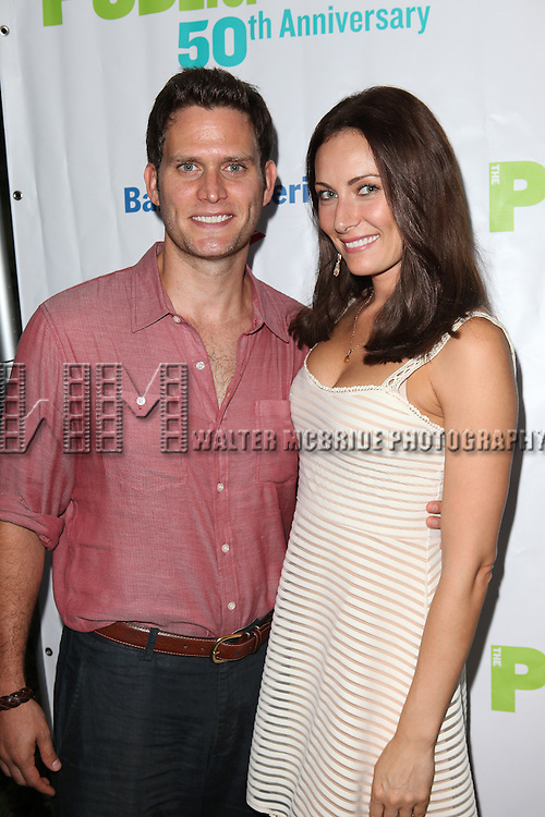 Actor Steven Pasquale & Actress Laura Benanti attending the Opening Night Performance of The Public Theater's 'InTo The Woods' at the Delacorte Theater in New York City on 8/9/2012. Actress Laura Benanti attending the Opening Night Performance of The Public Theater's 'InTo The Woods' at the Delacorte Theater in New York City on 8/9/2012. © Walter McBride/WM Photography