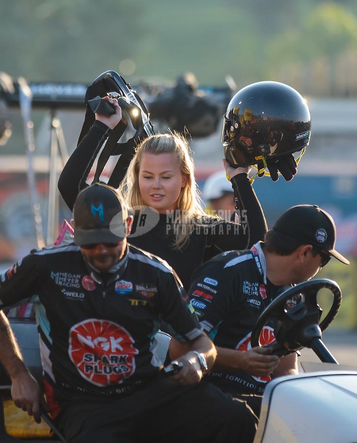 Nov 11, 2018; Pomona, CA, USA; NHRA top alcohol dragster driver Julie Nataas and crew during the Auto Club Finals at Auto Club Raceway. Mandatory Credit: Mark J. Rebilas-USA TODAY Sports