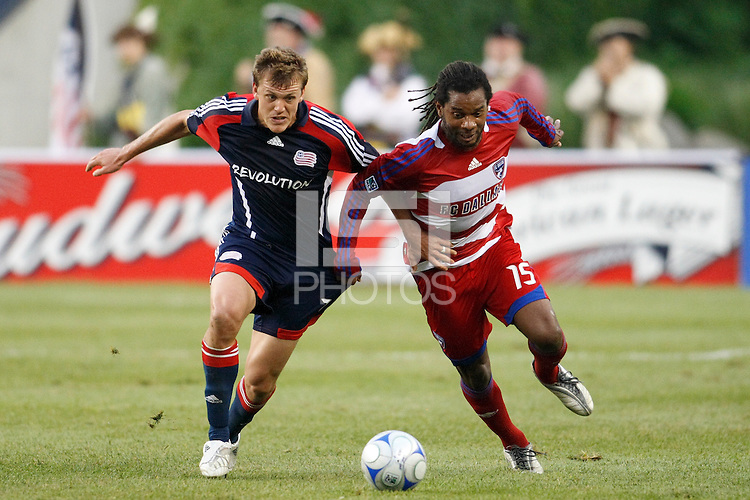 New England Revolution forward Adam Cristman (7) and FC Dallas defender Adrian Serioux (15). The New England Revolution defeated FC Dallas 2-1 during a Major League Soccer match at Gillette Stadium in Foxborough, MA, on June 6, 2008.