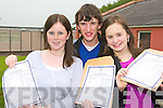 Milltown Presentation students Aisling Prendergast, Stephen Foley and Marese O'Sullivan Milltown celebrate after receiving their Leaving Cert results on Wednesday