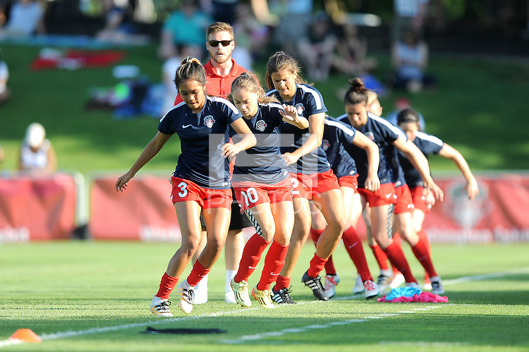 Boyds, MD - Saturday June 25, 2016: Washington Spirit players prior to a United States National Women's Soccer League (NWSL) match between the Washington Spirit and Sky Blue FC at Maureen Hendricks Field, Maryland SoccerPlex.