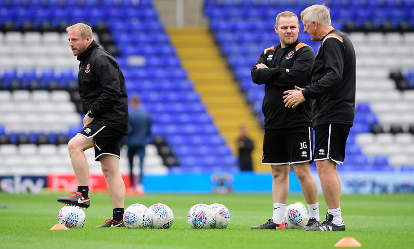 Blackpool's first team coach Ian Dawes, left, along with Blackpool's kit man John Gee, centre, and Blackpool's assistant manager Ian Miller during the pre-match warm-up<br /> <br /> Photographer Chris Vaughan/CameraSport<br /> <br /> The EFL Sky Bet League One - Coventry City v Blackpool - Saturday 7th September 2019 - St Andrew's - Birmingham<br /> <br /> World Copyright © 2019 CameraSport. All rights reserved. 43 Linden Ave. Countesthorpe. Leicester. England. LE8 5PG - Tel: +44 (0) 116 277 4147 - admin@camerasport.com - www.camerasport.com