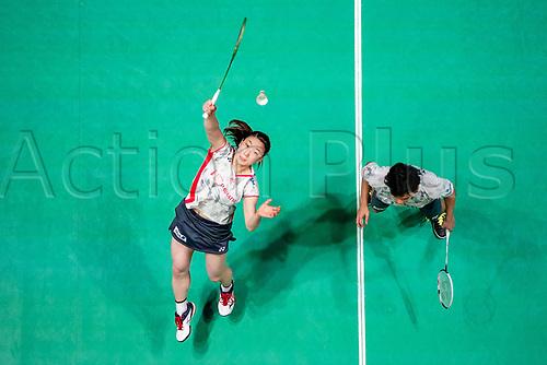 18th March 2018, Arena Birmingham, Birmingham, England; Yonex All England Open Badminton Championships; Yuta Watanabe (JPN) and Arisa Higashino (JPN) in the mixed doubles final against Zheng Siwei (CHN) and Huang Yaqiong (CHN)