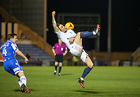 Sam Saunders of Wycombe Wanderers flicks the ball over his head during the Sky Bet League 2 match between Colchester United and Wycombe Wanderers at the Weston Homes Community Stadium, Colchester, England on 21 February 2017. Photo by Andy Rowland / PRiME Media Images.