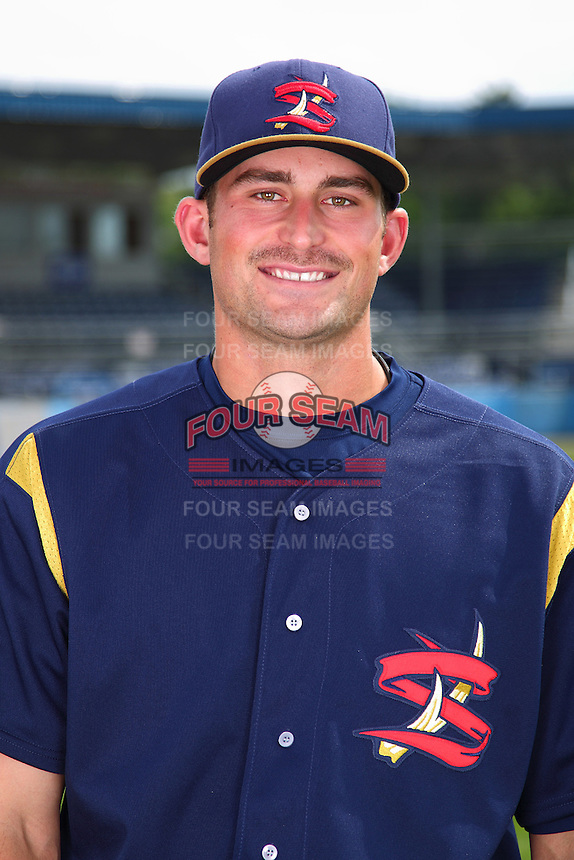 State College Spikes third baseman Chris Lashmet #32 poses for a photo before a game against the Batavia Muckdogs at Dwyer Stadium on July 7, 2011 in Batavia, New York.  Batavia defeated State College 16-3.  (Mike Janes/Four Seam Images)
