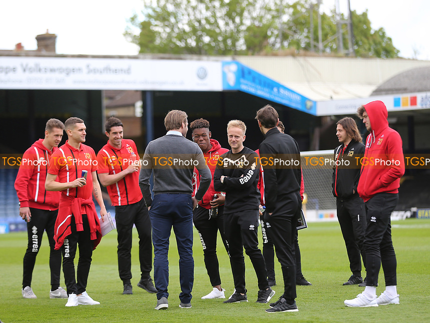 MK Dons Manager, Robbie Neilson, chats with his players pre-match during Southend United vs MK Dons, Sky Bet EFL League 1 Football at Roots Hall on 17th April 2017