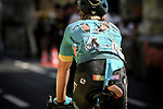 A bruised and battered Michael Valgren (DEN) Astana Pro Team crosses the finish line at the end of Stage 9 of the 2018 Tour de France running 156.5km from Arras Citadelle to Roubaix, France. 15th July 2018. <br /> Picture: ASO/Pauline Ballet | Cyclefile<br /> All photos usage must carry mandatory copyright credit (&copy; Cyclefile | ASO/Pauline Ballet)