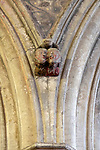 Church of Saint Mary, Berkeley, Gloucestershire, Sermon in Stone, faces of two ladies gossiping and poisonous toad on top