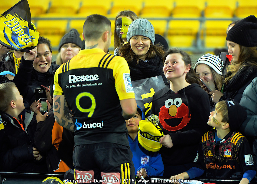 TJ Perenara signs autographs after the Super Rugby semifinal match between the Hurricanes and Chiefs at Westpac Stadium, Wellington, New Zealand on Saturday, 30 July 2016. Photo: Dave Lintott / lintottphoto.co.nz