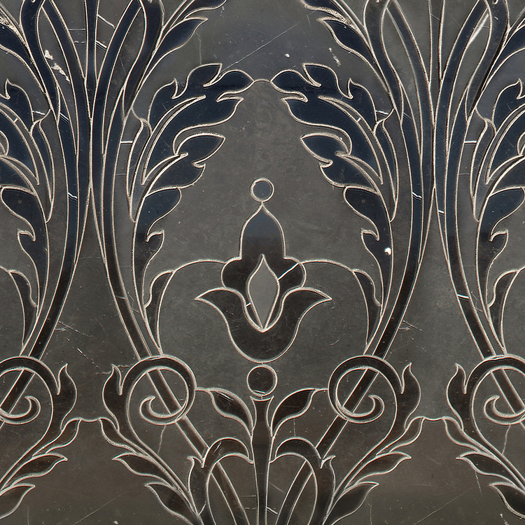Monaco Floral, a waterjet mosaic shown in honed and polished Nero Marquina, is part of the Liliane™ Collection by Caroline Beaupere for New Ravenna.