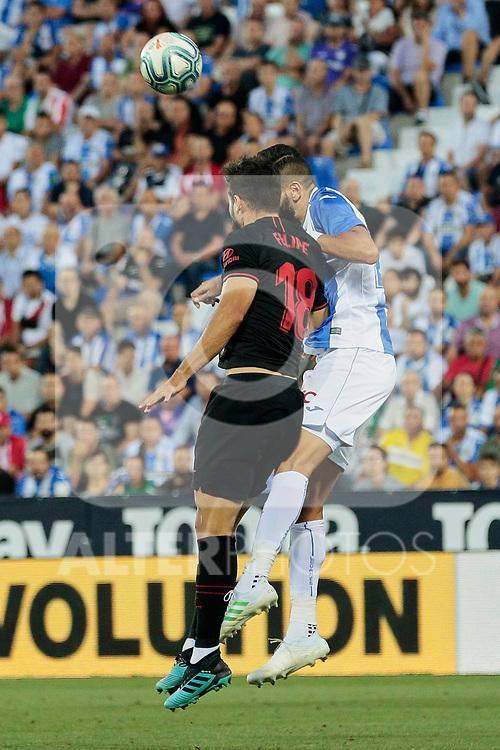 CD Leganes's Dimitrios Siovas and Atletico de Madrid's Felipe Augusto de Almeida during La Liga match between CD Leganes and Atletico de Madrid at Butarque Stadium in Madrid, Spain. August 25, 2019. (ALTERPHOTOS/A. Perez Meca)