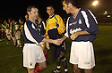 10/10/2002                   Copyright Pic : James Stewart.File Name : stewart-crunchie 05A.KEVIN MCALLISTER SHAKES HANDS WITH FALKIRK'S OWEN COYLE BEFORE THE START OF HIS TESTIMONIAL...Payments to :-.James Stewart Photo Agency, 19 Carronlea Drive, Falkirk. FK2 8DN      Vat Reg No. 607 6932 25.Office     : +44 (0)1324 570906     .Mobile  : +44 (0)7721 416997.Fax         :  +44 (0)1324 570906.E-mail  :  jim@jspa.co.uk.If you require further information then contact Jim Stewart on any of the numbers above.........