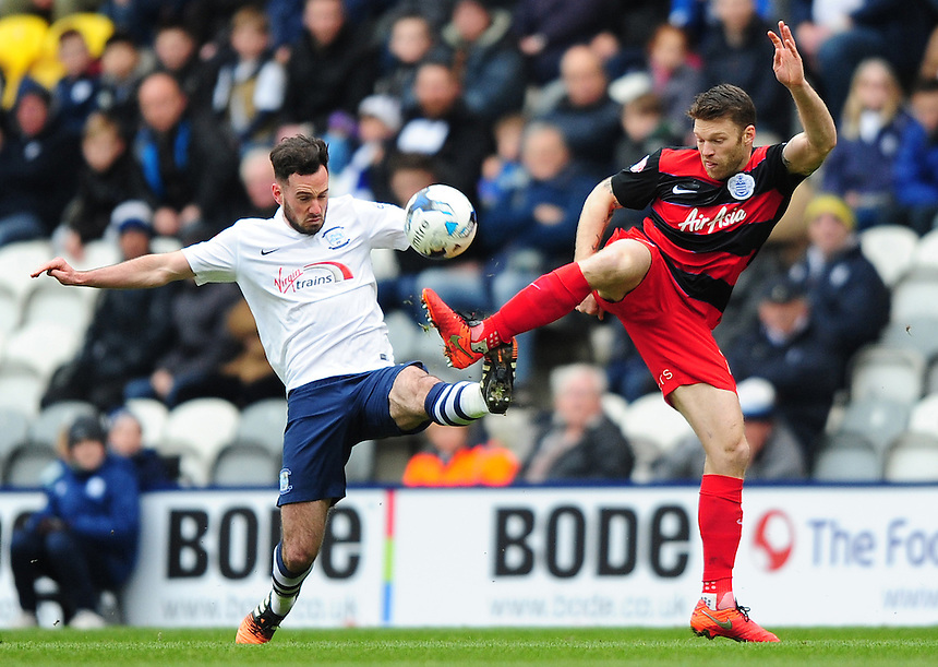 Preston North End's Greg Cunningham  vies for possession with Queens Park Rangers' Jamie Mackie<br /> <br /> Photographer Chris Vaughan/CameraSport<br /> <br /> Football - The Football League Sky Bet Championship - Preston North End v Queens Park Rangers - Saturday 19th March 2016 - Deepdale - Preston <br /> <br /> &copy; CameraSport - 43 Linden Ave. Countesthorpe. Leicester. England. LE8 5PG - Tel: +44 (0) 116 277 4147 - admin@camerasport.com - www.camerasport.com