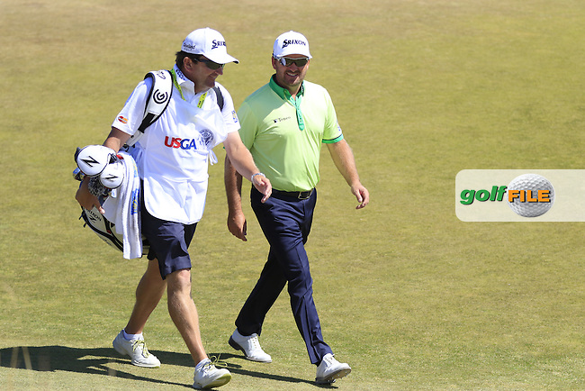 Graeme McDOWELL (NIR) and caddy Ken Comboy walk to the 6th tee during Friday's Round 2 of the 2015 U.S. Open 115th National Championship held at Chambers Bay, Seattle, Washington, USA. 6/19/2015.<br /> Picture: Golffile | Eoin Clarke<br /> <br /> <br /> <br /> <br /> All photo usage must carry mandatory copyright credit (&copy; Golffile | Eoin Clarke)