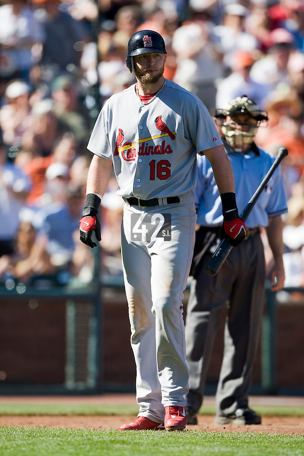 13 April 2008: #16 Chris Duncan of the Cardinals looks dejected during the San Francisco Giants 7-4 victory over the St. Louis Cardinals at the AT&T Park in San Francisco, CA.