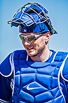 6 March 2019: Toronto Blue Jays top prospect catcher Danny Jansen returns to the dugout during a Spring Training game against the Philadelphia Phillies at Dunedin Stadium in Dunedin, Florida. The Blue Jays defeated the Phillies 9-7 in Grapefruit League play. Mandatory Credit: Ed Wolfstein Photo *** RAW (NEF) Image File Available ***