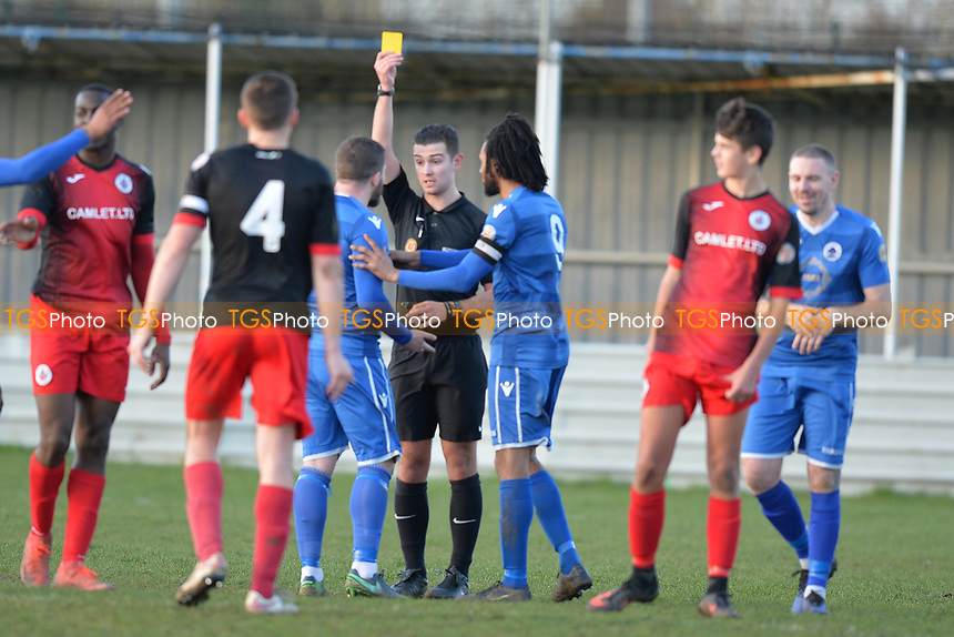 Jason Beck of Walthamstow Receives a Yellow Card during Walthamstow vs Sawbridgeworth Town, Essex Senior League Football at Wadham Lodge Sports Ground on 8th February 2020