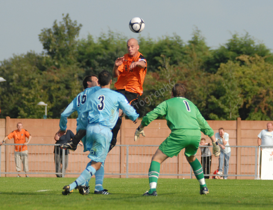 Ashley Vickers (Capt) jumps above the Hampton defence to see his header go wide. Newport County V Hampton & Richmond Borough FC, Blue Square South League, © Ian Cook IJC Photography iancook@ijcphotography.co.uk www.ijcphotography.co.uk