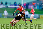 Fionn Fitzgerald, Dr Crokes in action against David Clifford, East Kerry  during the Kerry County Senior Club Football Championship Final match between East Kerry and Dr. Crokes at Austin Stack Park in Tralee, Kerry.