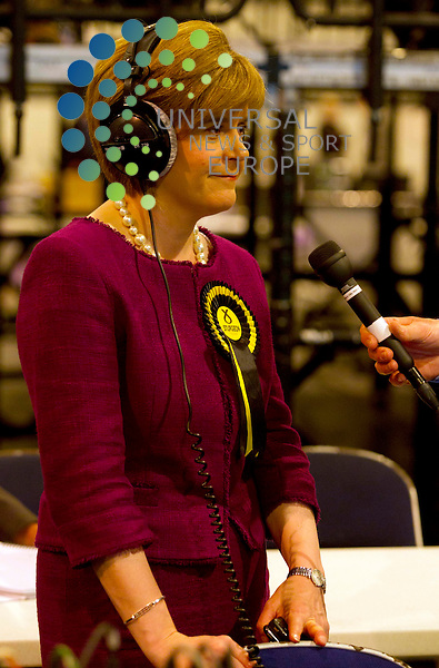 Nicola Sturgeon for SNP wins her seat in south side of Glasgow during the for the Scottish Parliamentary Election and Referendum Count at the Scottish Exhibition Centre, Glasgow..Picture: Maurice McDonald/Universal News And Sport (Europe).5 May 2011...