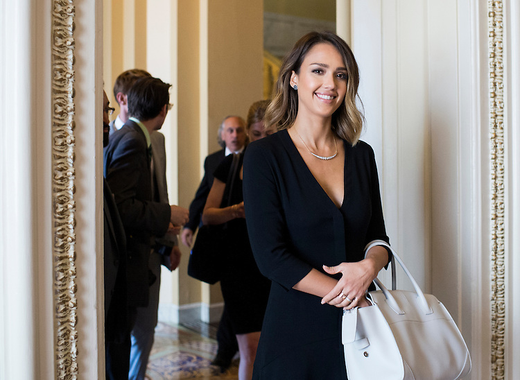 UNITED STATES - JUNE 18: Actress Jessica Alba walks through the U.S. Capitol after participating in a meeting with Senate Minority Leader Harry Reid, D-Nev., and executives from the Companies for Safer Chemicals coalition on Thursday, June 18, 2015. (Photo By Bill Clark/CQ Roll Call)