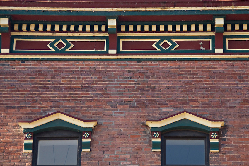 Detail of historic building in downtown Marquette Michigan.