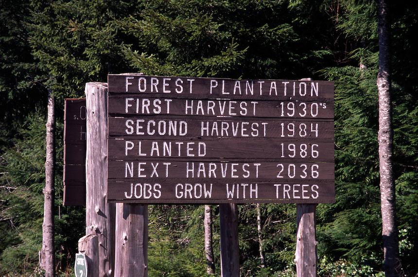 Logging Roadside Sign, Forks, Washington, US