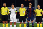 Spanish Women's Football League Iberdrola 2017/18 - Game: 9.<br /> FC Barcelona vs Madrid CFF: 7-0.<br /> Alba Mellado, Vicky Losada posando con los arbitros.