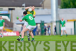 Paul Kennelly contests with Limerick's Paul Martin in the Munster Junior Championship Semi final held in the Gaelic Grounds last Saturday..