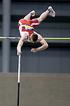 BROOKINGS, SD - FEBRUARY 24:  Chris Nilsen from University of South Dakota clears the bar during the men's pole vault Friday afternoon at the Summit League Indoor Championships in Brookings, SD. (Photo by Dave Eggen/Inertia)